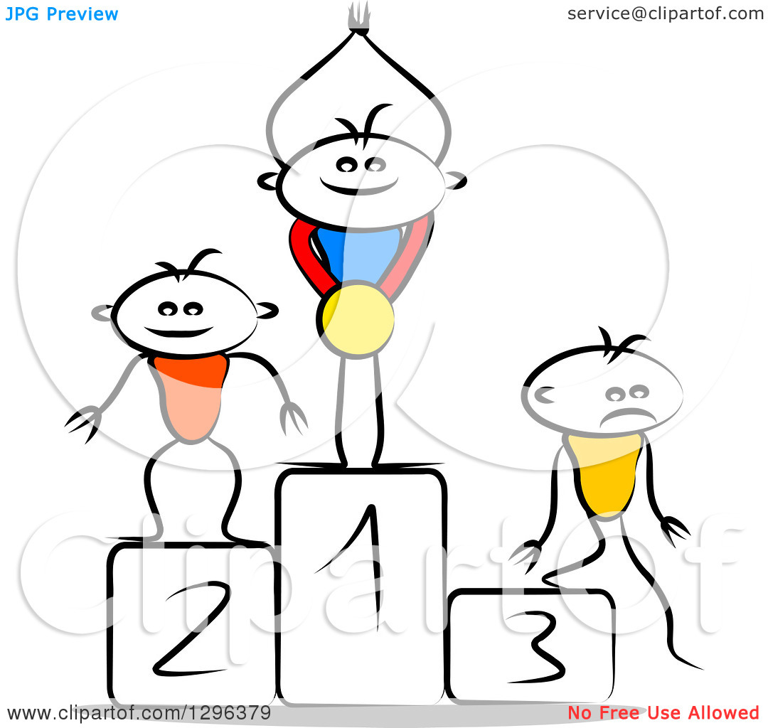 Clipart of a Sketched Winner Cheering with a Medal on a First.