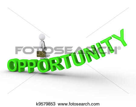 Drawing of Businessman walking on opportunity k9579853.