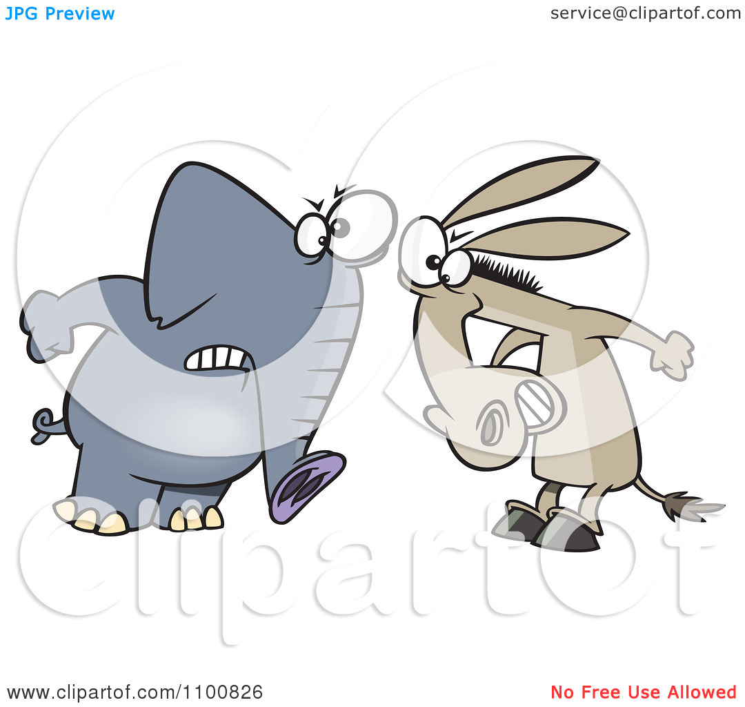 Clipart Cartoon Opposing Democratic Donkey And Republican Elephant.