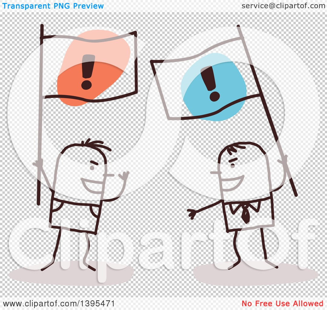 Clipart of Sketched Stick Men Arguing and Holding Opposing Flags.