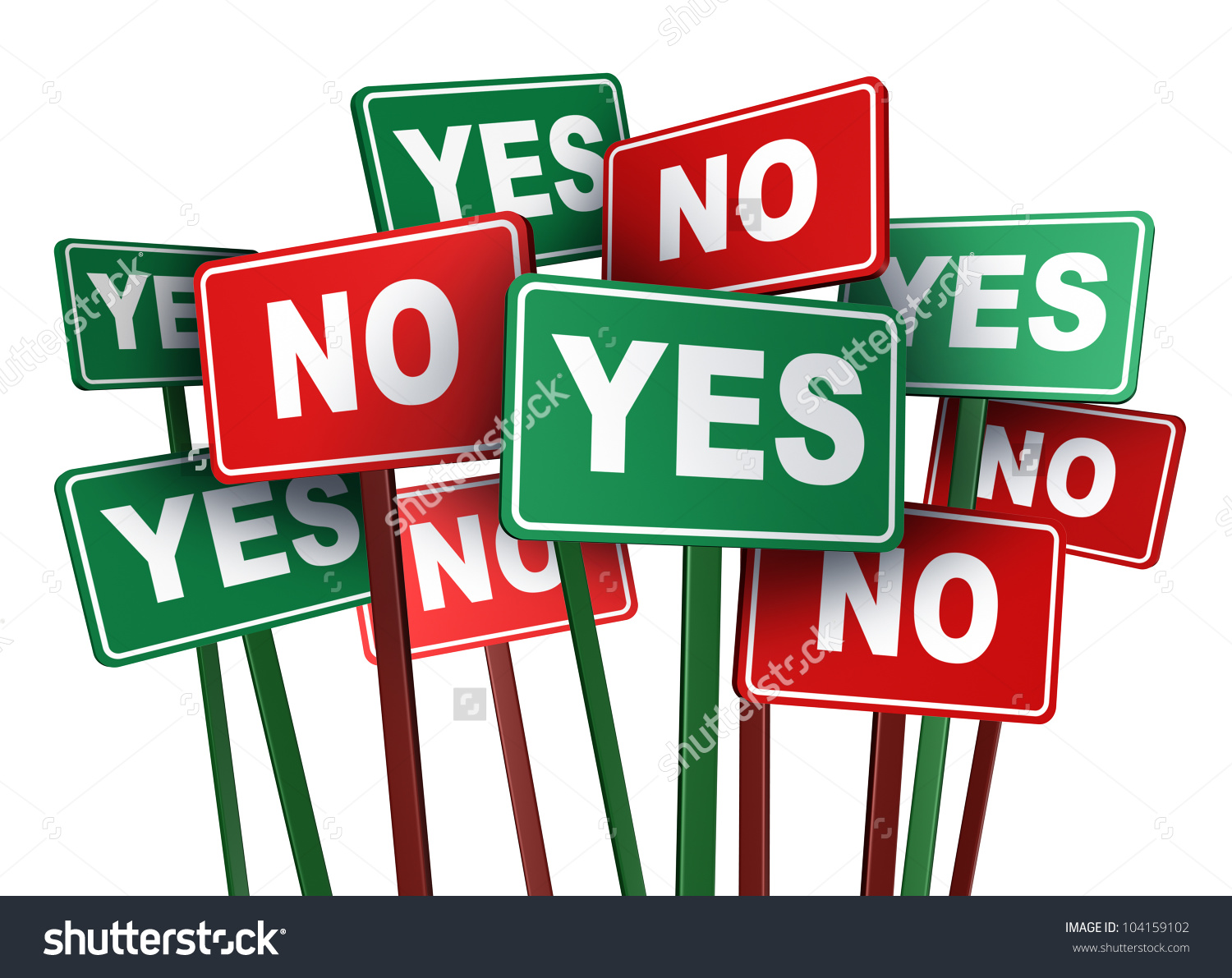 Voting Yes No Opposing Conflicting Green Stock Illustration.