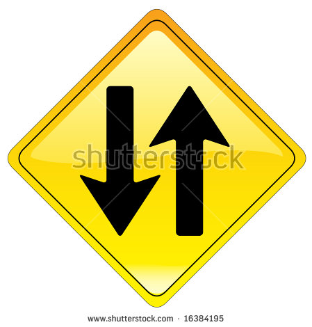 Warning Road Sign Colombia Opposing Traffic Stock Illustration.