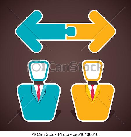 Vector Clip Art of join two opposite arrow above two businessmen.
