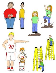 Kids in Action: Opposites Clip Art 2 48 PNGs of Illustrated.