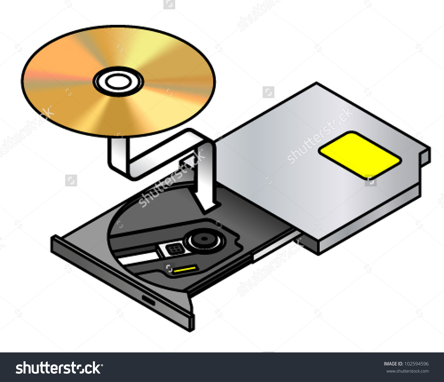 Insert Disc Portable Optical Drive Drawertray Stock Vector.