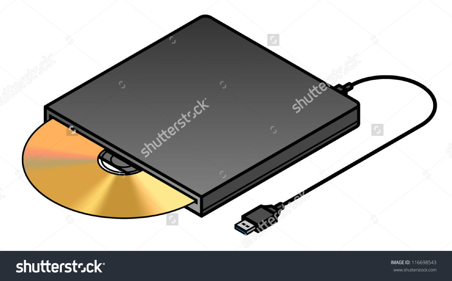 An External Usb Slot Loading Optical Drive. Stock Vector.