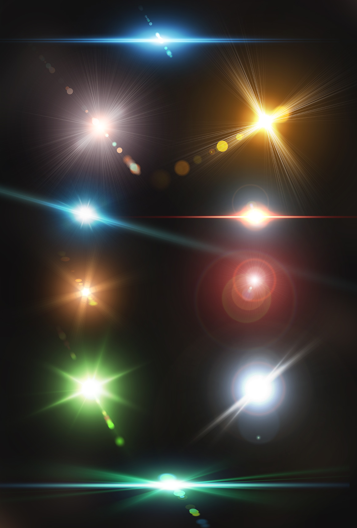 10 Optical Lens Flares Pack 2 in Design Elements on Yellow.
