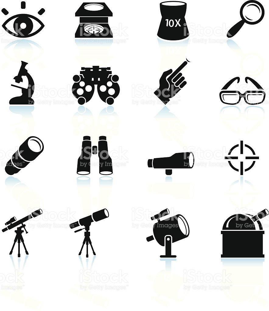 Optical Instruments Black And White Royalty Free Vector Icon Set.