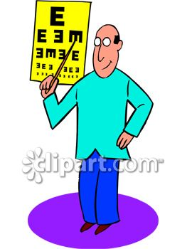 Optician Pointing to an Eye Chart During a Vison Exam.
