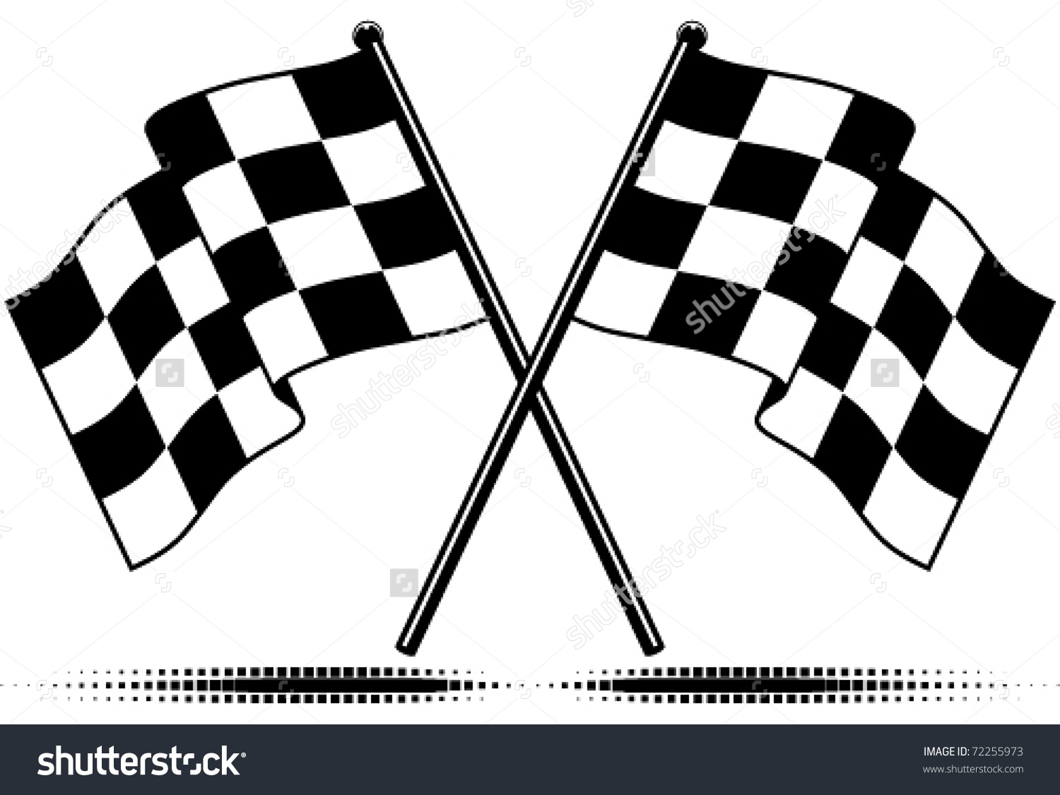 Vector Two Crossed Checkered Flags Black Stock Vector 72255973.