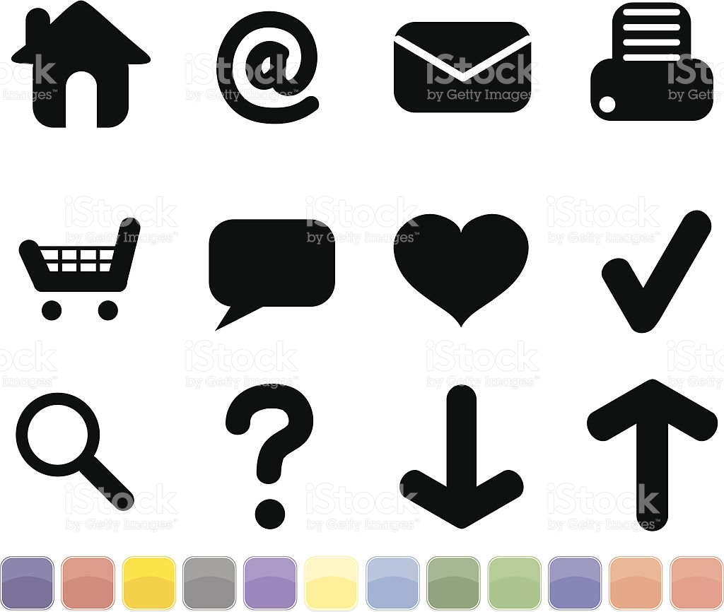 Black Internet Icons Set With 12 Optional Button Colors stock.
