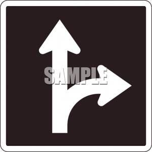 Right Turn Or Straight Through Optional Lane Sign.
