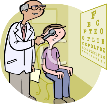 Optometrist or Eye Doctor Giving Eye Exam to Child.