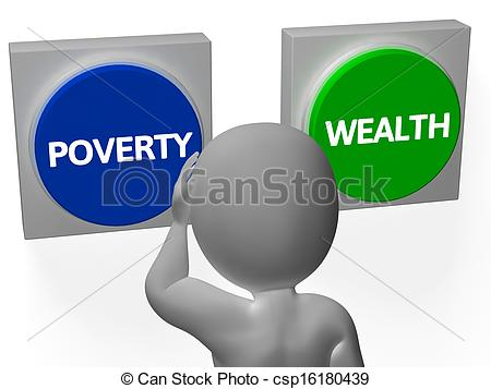 Drawings of Poverty Wealth Buttons Show Indebtedness Or Opulence.