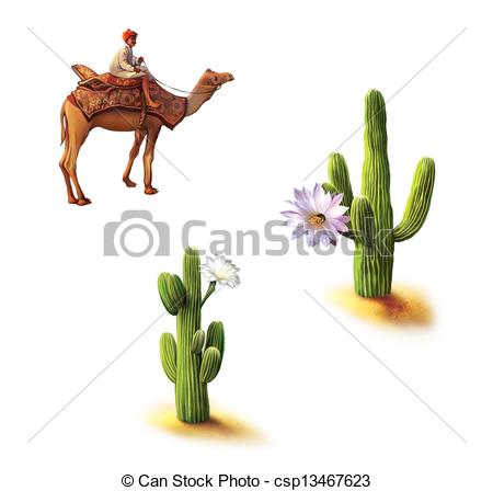 Clip Art of Desert, Bedouin on camel, saguaro cactus with flowers.