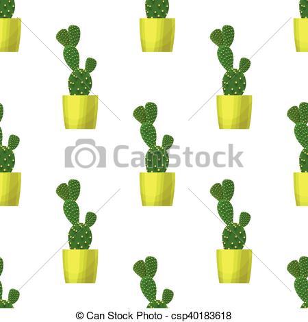 Vector Clip Art of Opuntia cactus.