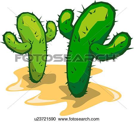 Clipart of opuntia, view, cactus, plants, plant, landscape.
