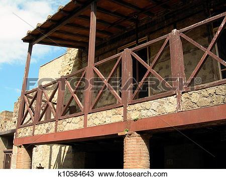 Stock Photo of Opus Craticium House in Herculaneum k10584643.