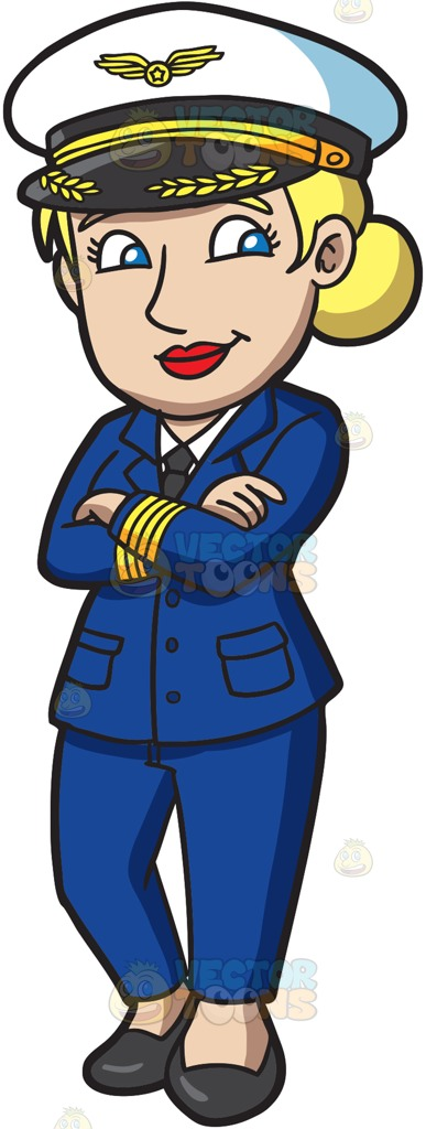 Female pilot clipart.