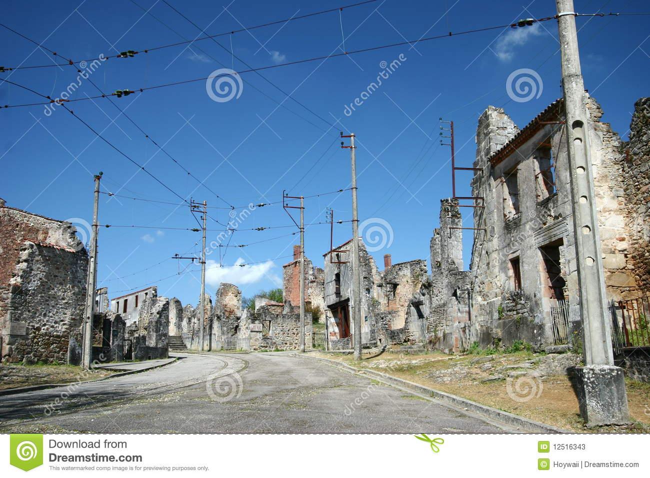 Street Of WWII Village Oradour.