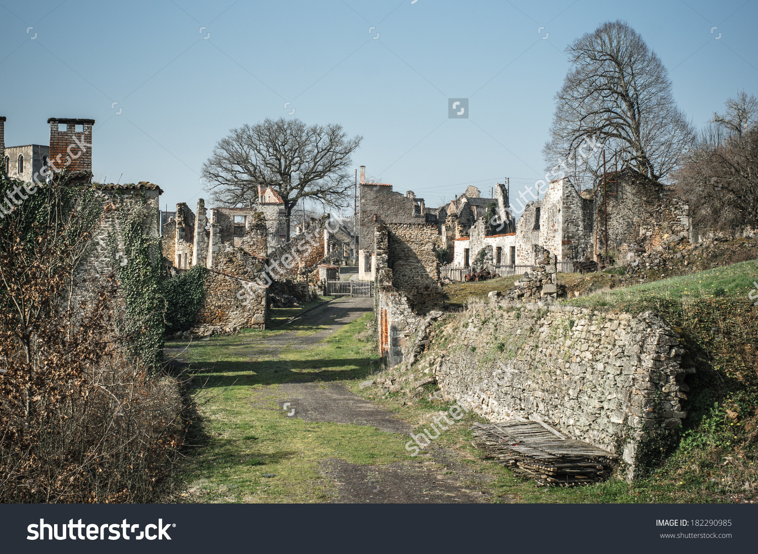 Ruin Village Oradoursurglane France This Village Stock Photo.