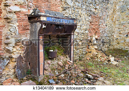 Stock Photograph of Broken house in Oradour sur Glane k13404189.
