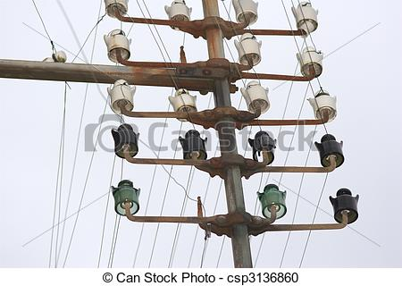 Stock Photography of oradour sur glane electrical pole with.