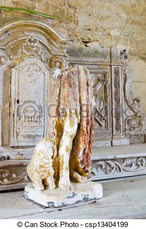 Stock Photographs of Interior church in Oradour sur Glane.
