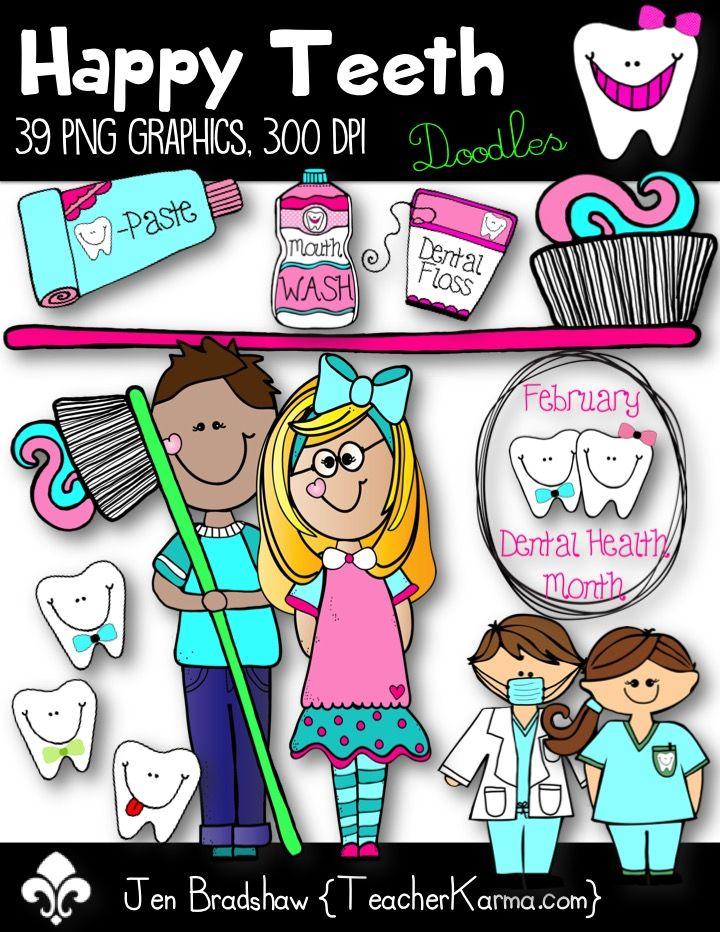 Happy Teeth Clip Art ~ Dental Health ~ Dentist.