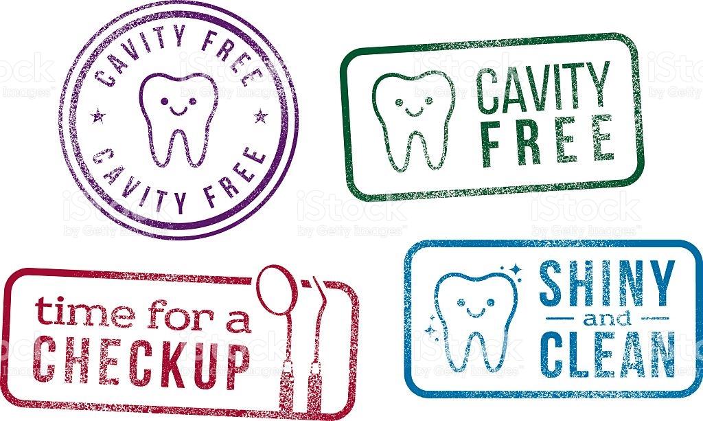 Dental Rubber Stamps Oral Hygiene Checkup stock vector art.