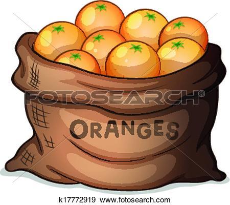 Clip Art of A sack of oranges k17772919.