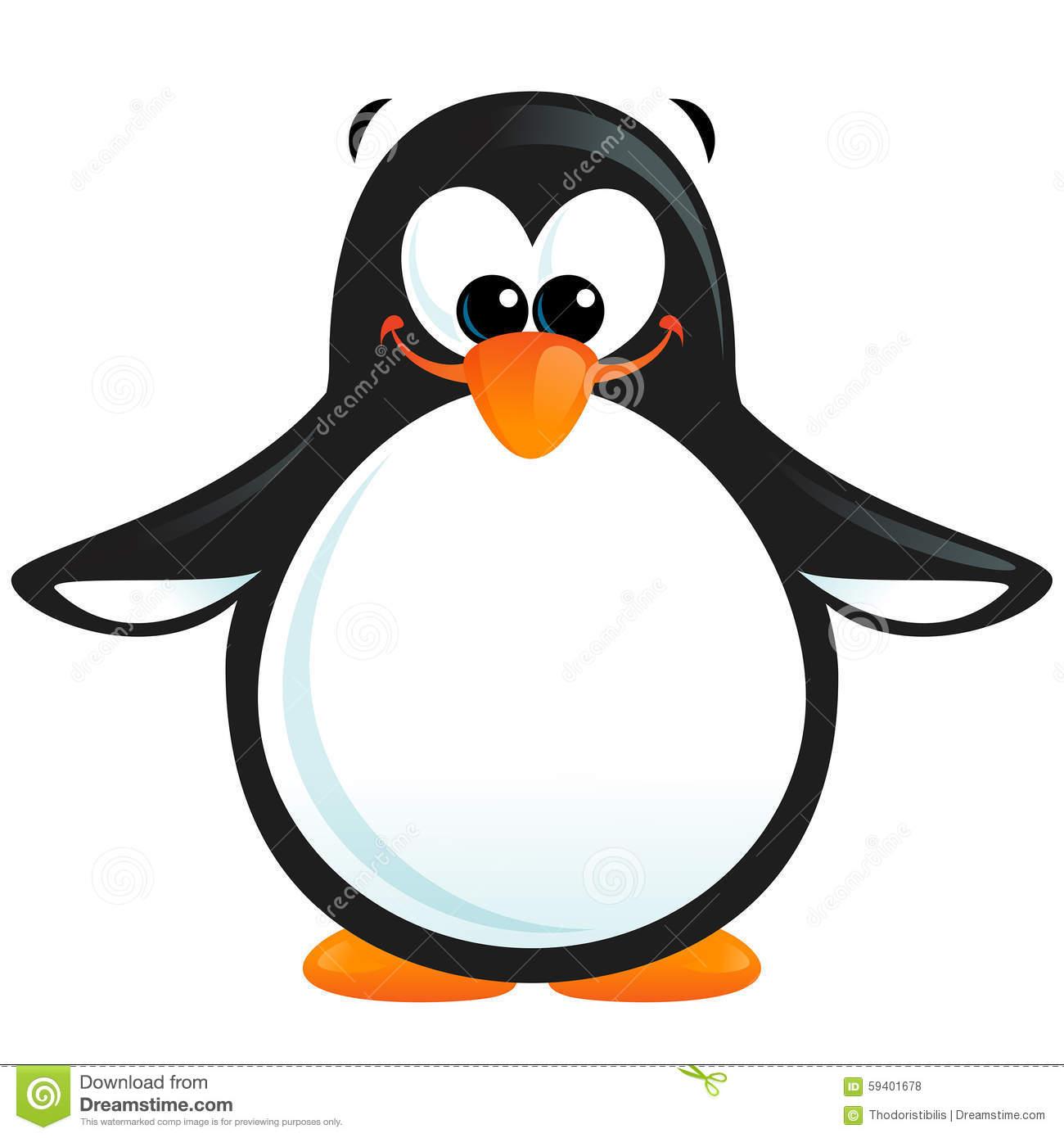 Happy Cute Cartoon Smiling Black White Penguin With Orange Beak.