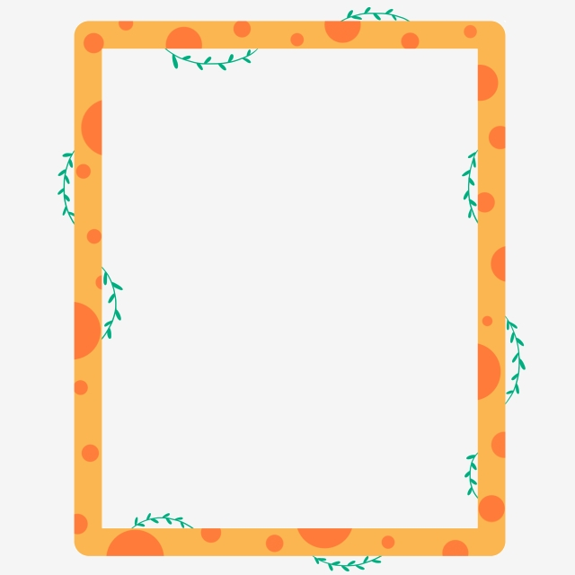 Orange Plant Border Illustration, Border, Orange Border.