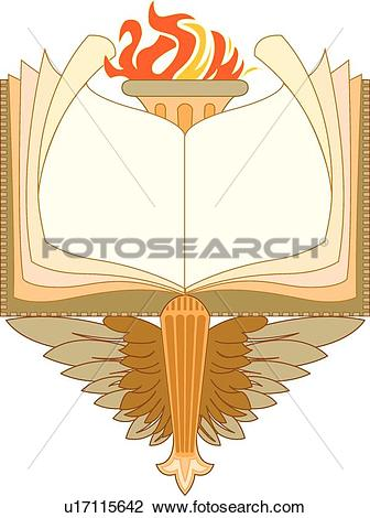 Clipart of Orange, yellow and brown book, flame and feather Frame.