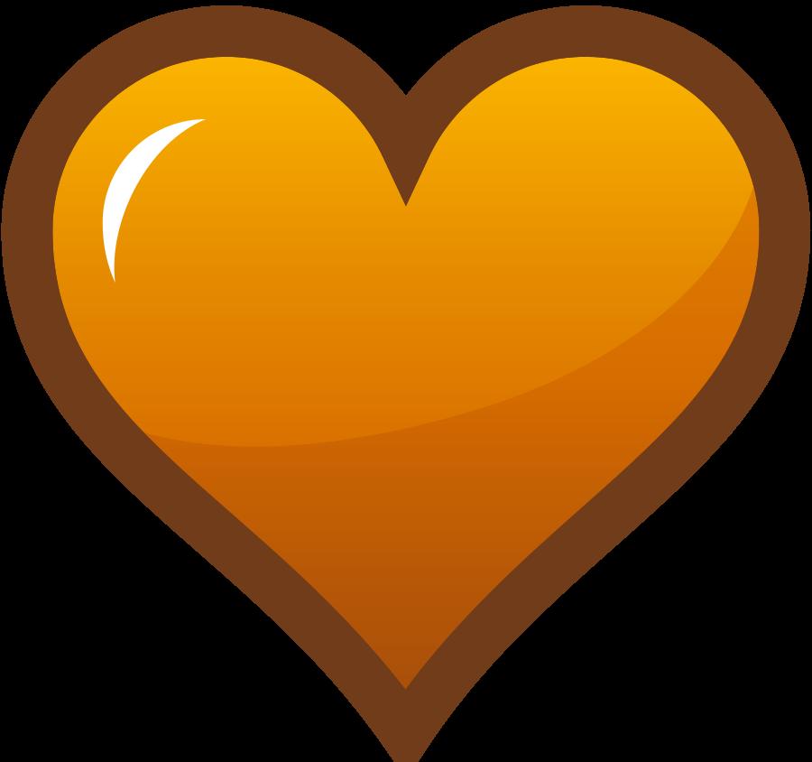 Brown heart clipart.