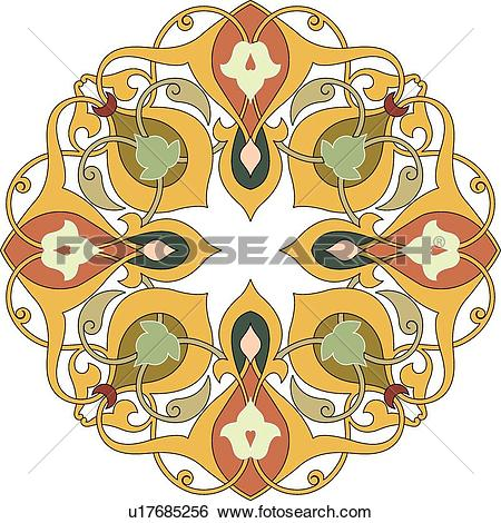 Clip Art of Green, yellow, brown and orange floral Arabesque.