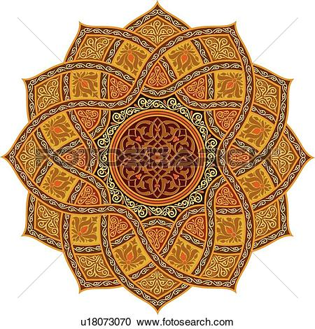 Clipart of Blue, gold, orange and brown diamond shaped Arabesque.