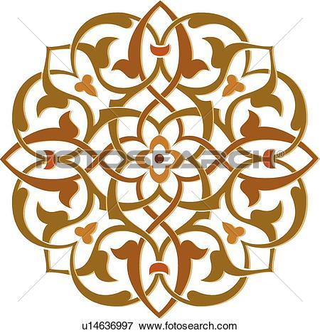 Clip Art of Brown, green and orange leaf pattern Arabesque Design.