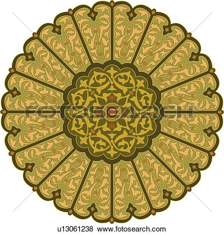 Clip Art of Round Green, orange, brown and pink leaf pattern.