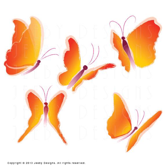 Orange Butterfly Clip Art Five Butterflies Southwest Clip.