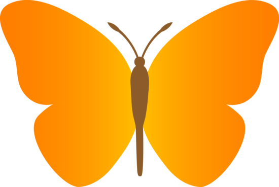 Simple Orange Butterfly Clipart.