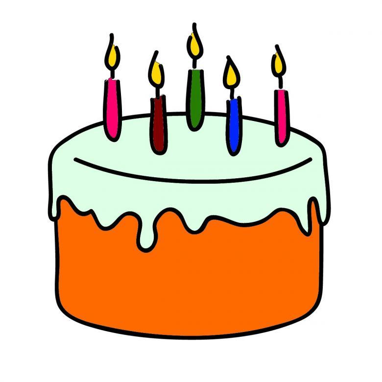 Birthday cake clip art orange.