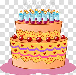 Party , orange cake with lighted candles illustration.