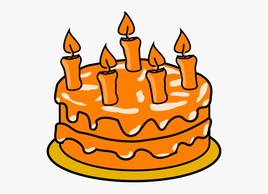 Birthday Cake Clipart Orange.