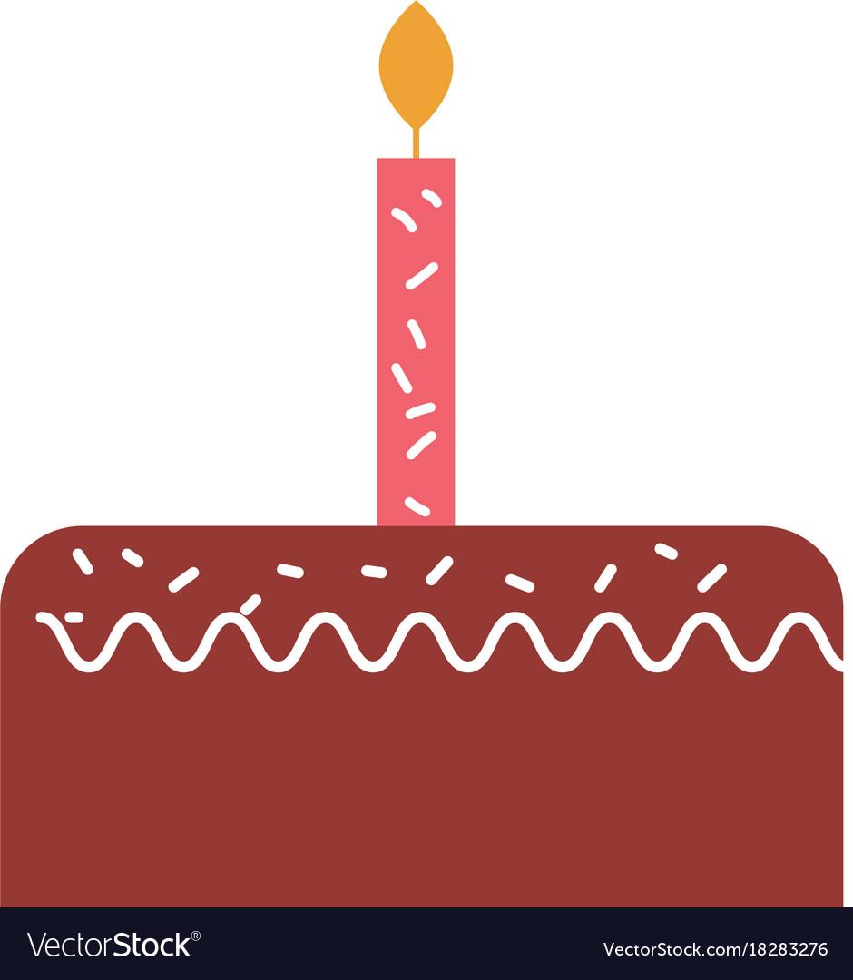 Birthday cake with one candle celebration.