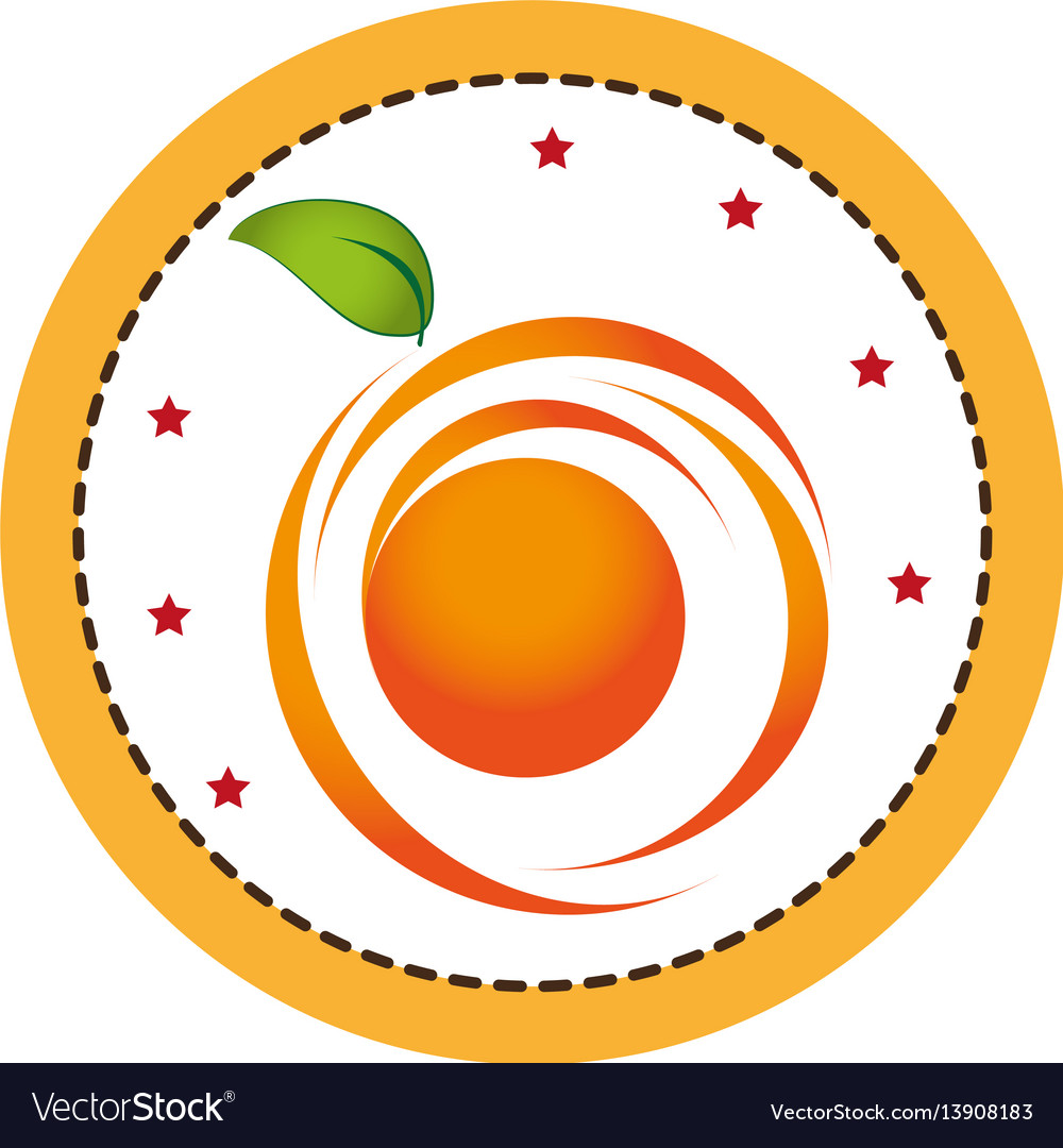 Color circular frame with abstract orange fruit.
