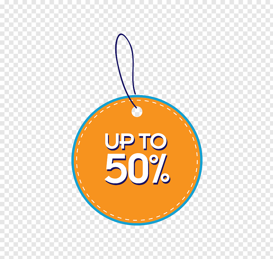Up to 50% text, Price tag Label, price tag orange circular.