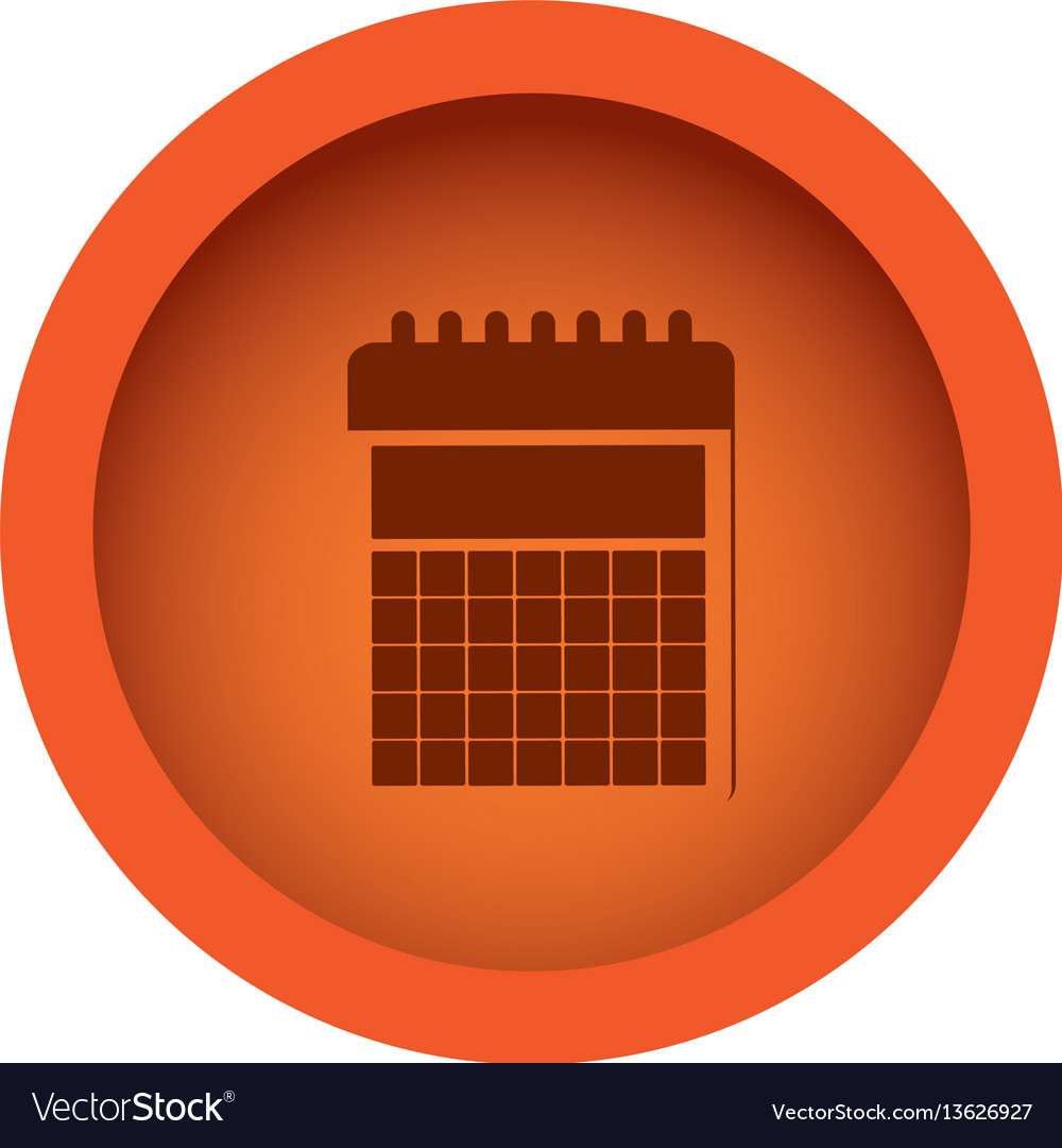 Orange circular frame with silhouette calendar.