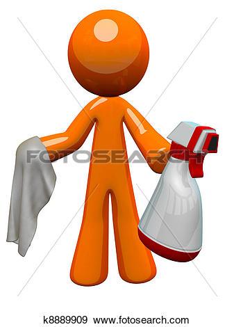Stock Illustration of Orange Man Sanitation Worker Spray Bottle.