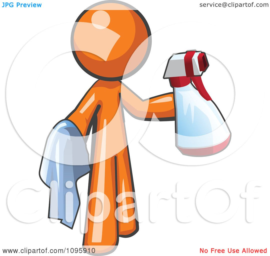 Clipart Orange Man Cleaning With A Spray Bottle And Cloth.
